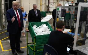 Donald Trump Doesn't wear mask at Honeywell Mask Factory