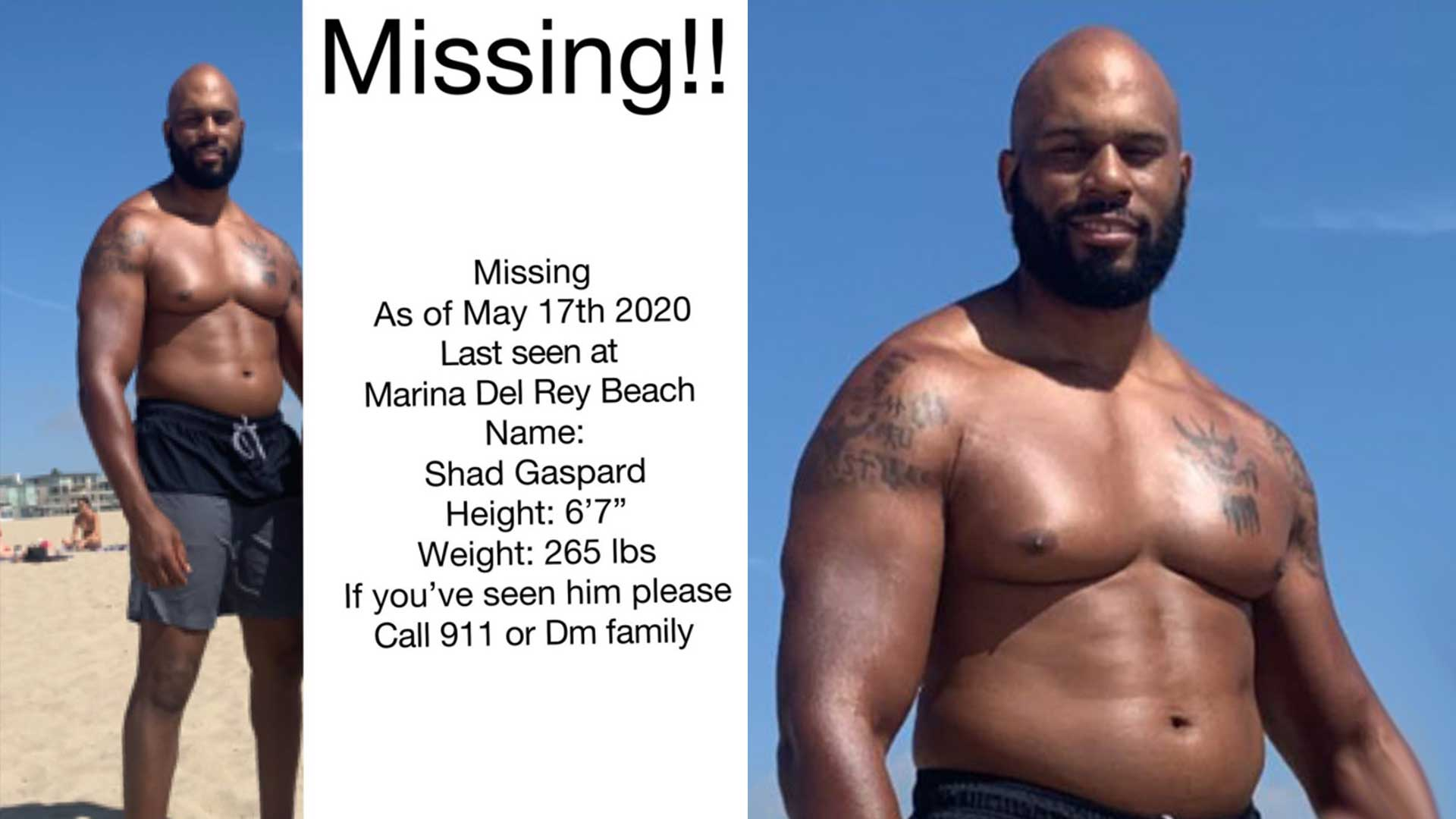 Near the Venice Beach, Shad Gaspard who is former WWE superstar goes missing