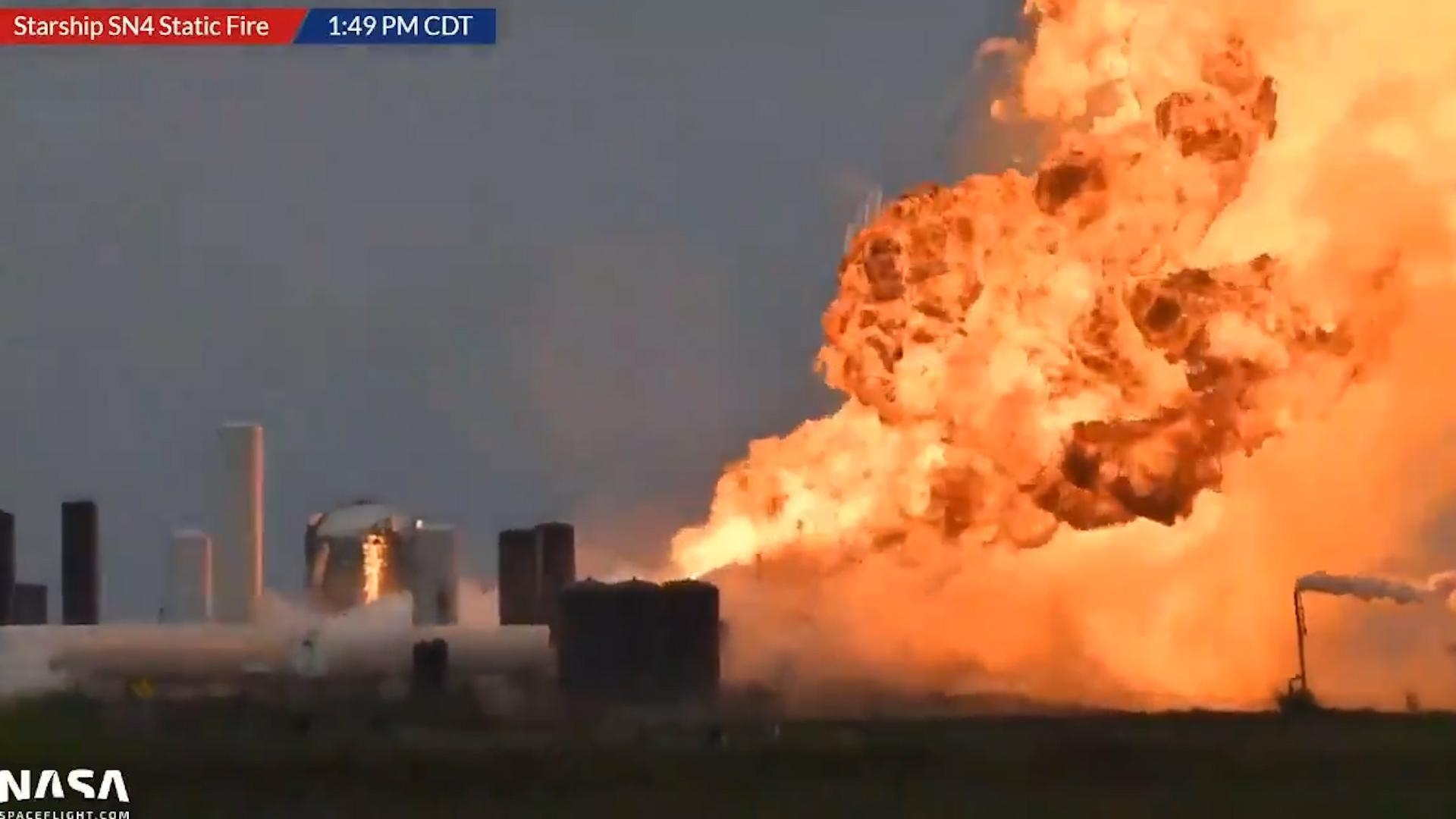 SpaceX Starship SN4 prototype explodes after engine test in Texas