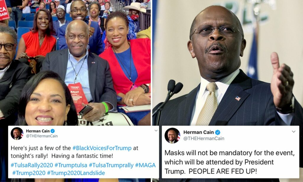 Herman Cain is Tweeting from heaven to attack Harris and Biden