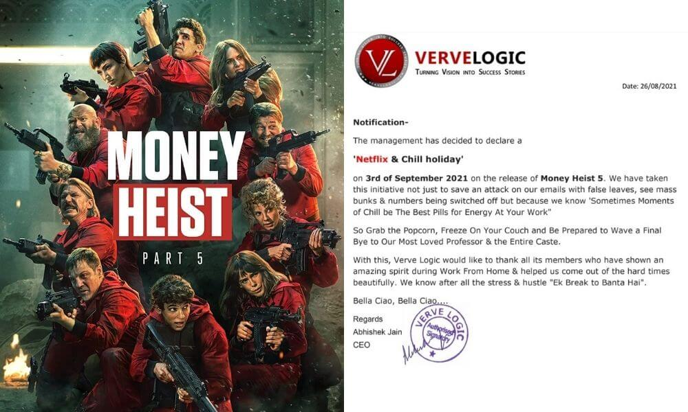 An IT Firm In Jaipur Is Giving Its Employees A Day Off To Binge-Watch Money Heist