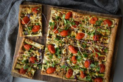 Zucchini, Goat's Feta & Pine Nut Tart Recipe