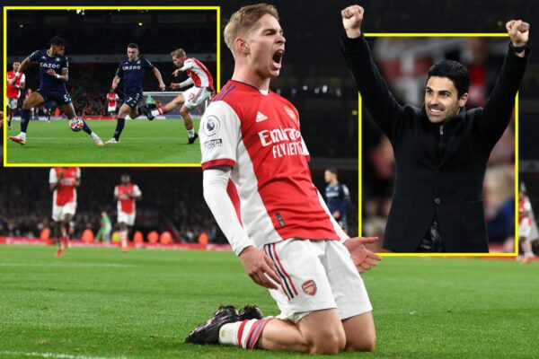 Emile Smith Rowe labelled 'best runner with ball in Premier League', as Arsenal star puts in incredible display against Aston Villa and wants to stay at club 'forever'